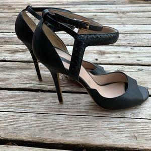 Elie Saab Black Leather and Snakeskin Strappy Heel